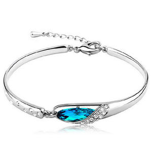 Jewelry - Blue Crystal Silver Plated Bracelet
